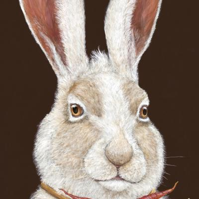 Harvey Hare with Carrot Necklace.